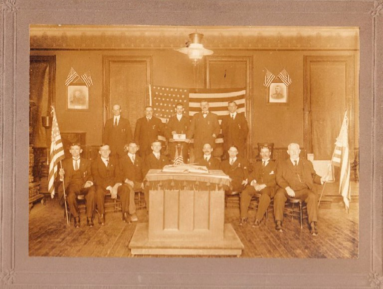Unknown Dated Photo of Col. Townsend Post No. 1 Officers and R-Albany County Courthouse